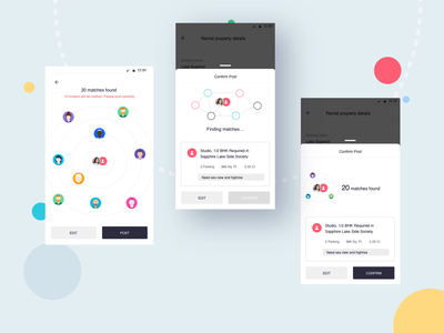 Confirmation UX - behind the screens android app social networking app social network real estate design wireframe india ux minimal app design