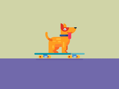 Odin on the skateboard 🐶(#dribbbleweeklywarmup)