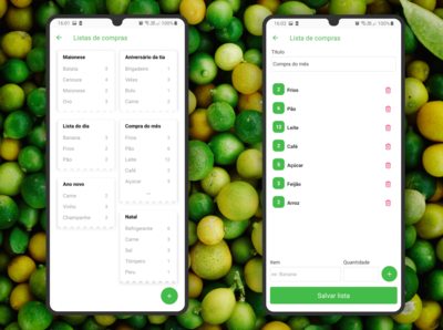 Visual Green App Shopping List