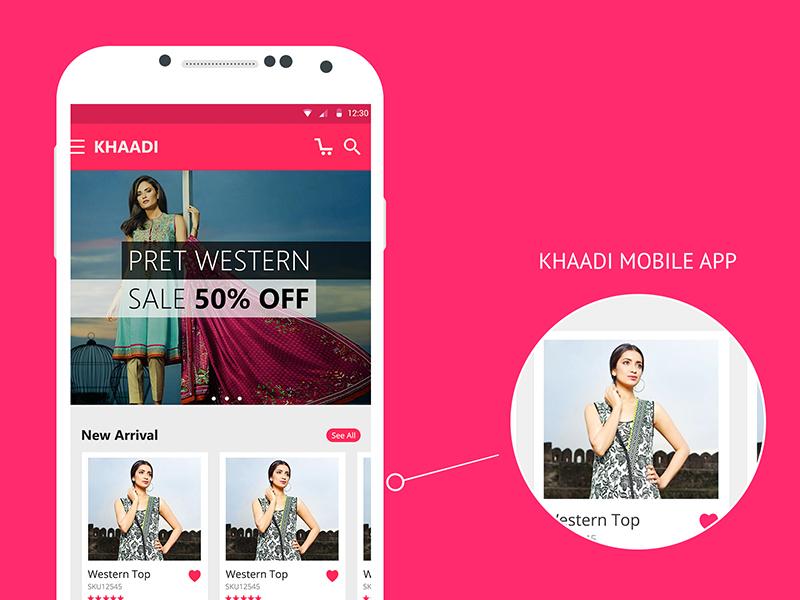 Khaadi mobile app illustrator photoshop graphic ecommerce android app