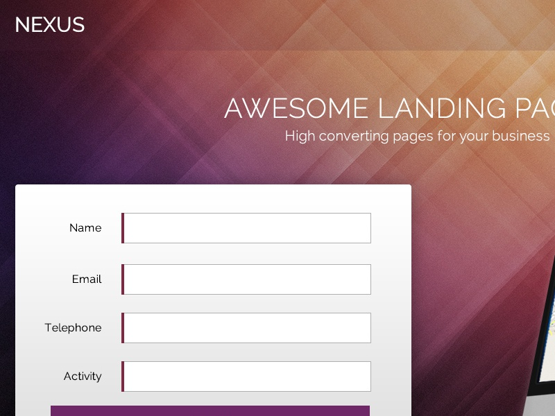Nexus Landing Page ux design web design illustrator photoshop clean design creative landing page