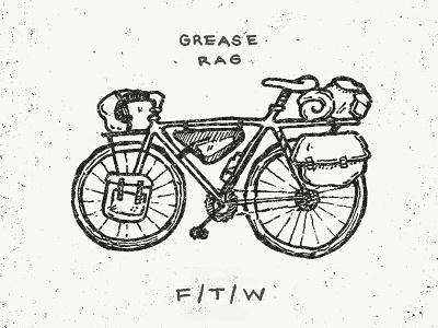 Grease Rag - Bike Camping sketch doodle ink pen camping illustration bike