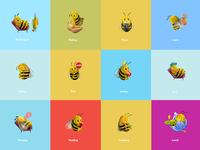 Bee emojis