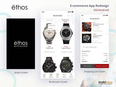 Ethos Watches iOS App apparel industry watches ios app icon ux mobile app illustration ui design design mobikasa
