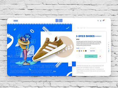 Iniki Lover Sneaker Store adobe xd procreate concept ecommerce design ecommerce ux fashion illustration art adidas originals adidas 90s web webdeisgn uiuxdesign uidesign ui typography type illustration design