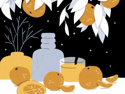 Still Here Still Life - Week 40 limited color palette procreate vase oranges drawing challenge still life digital illustration