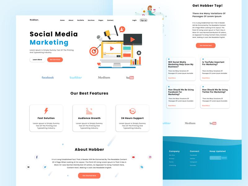 Hobber Landing Page Design web ui logo design app website designer mobile ui seo agency agency website graphic design typography branding design website home page ui landing page