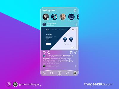 Instagram UI design redesign glassui glass effect glassmorphism webdesign application app design instagram app instagram post instagram design minimal uiux uidesign