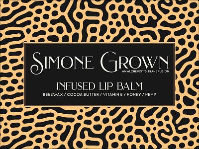 Simone Grown Product Design - Lip Balm typography logo illustrator yellow packaging hemp logo cannabis branding hemp oil cannabis typelogo branding organic lip balm hemp