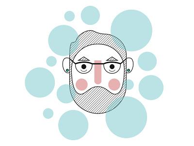 Academic Stress identity illustrator design beard academic bubbles branding flat minimal vector illustration avatar portrait