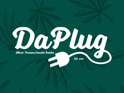 DaPlug cannabis design cannabis logo cannabis branding green daplug daplug plug dispensary illinois cannabis lettering branding flat minimal illustrator typography logo design