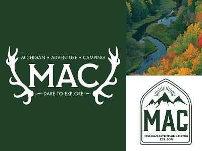 Michigan Adventure Camping adventure camping mac river mountain antlers logo designs stamp michigan identity branding minimal illustrator vector typography logo illustration design