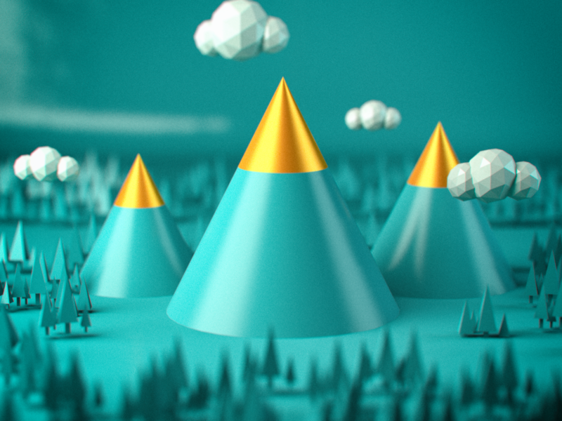 Mountains website minimal illustration typography ux design c4d art abstract 3d