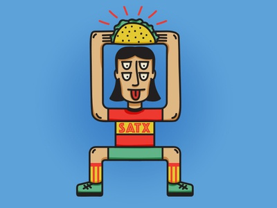 Taco Worship mascot character vector illustration adobe illustrator