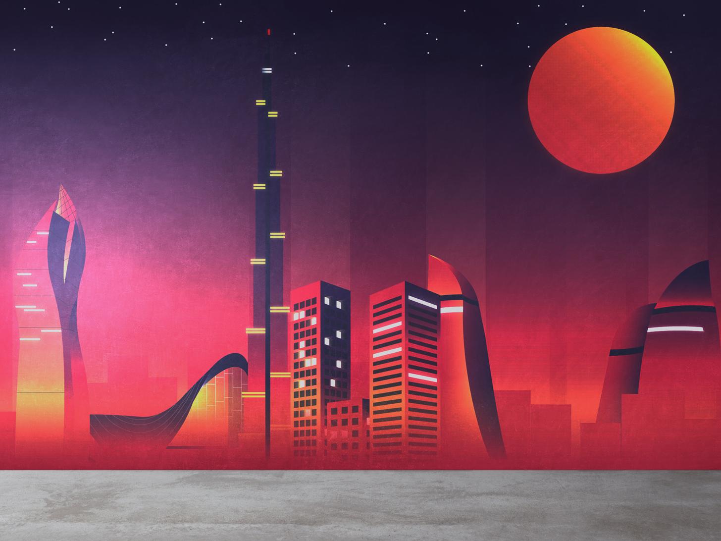 Baku City Poster city illustration illustrator wall poster city poster baku