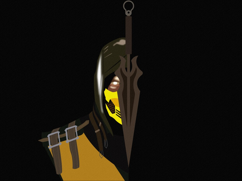 Scorpion (Hanzo Hasashi) vector illustration art dark fighter fighting art illustrator ai illustration fight mortalkombat battle mk11 mk hanzo hasashi scorpion kombat mortal kombat