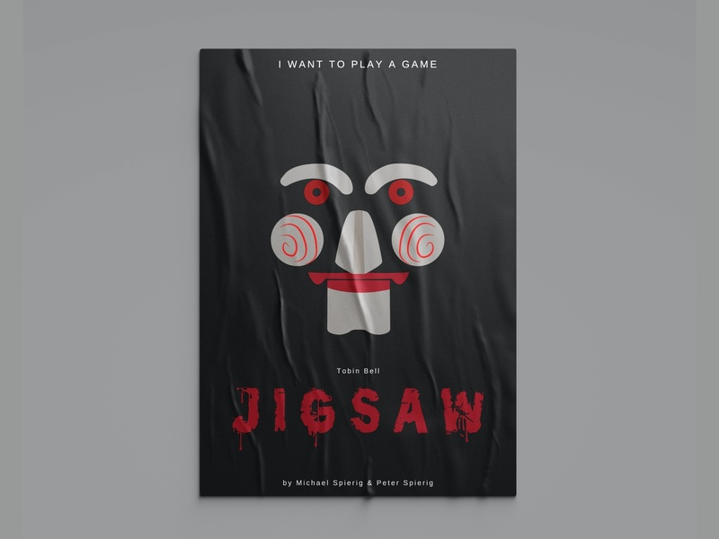 JIGSAW - Film Poster movie poster ps illustrator photoshop illustration art illustration minimalist minimalism design art poster design design ai poster art film poster filmposter iwanttoplayagame film poster saw jigsaw