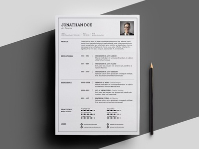 Free Light Resume Template with Infographic Style