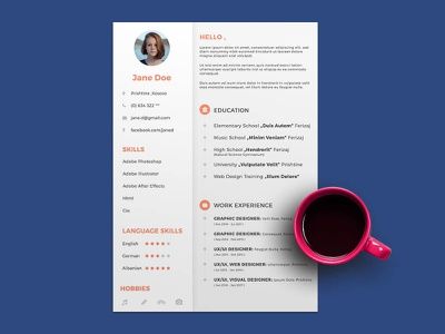 Free General PSD ResumeTemplate for Any Job Opportunity free free cv template design free resume template freebies freebie cv template curriculum vitae resume cv