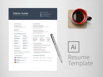 Free Universal Illustrator Resume Template free free cv template design free resume template freebies freebie cv template curriculum vitae resume cv