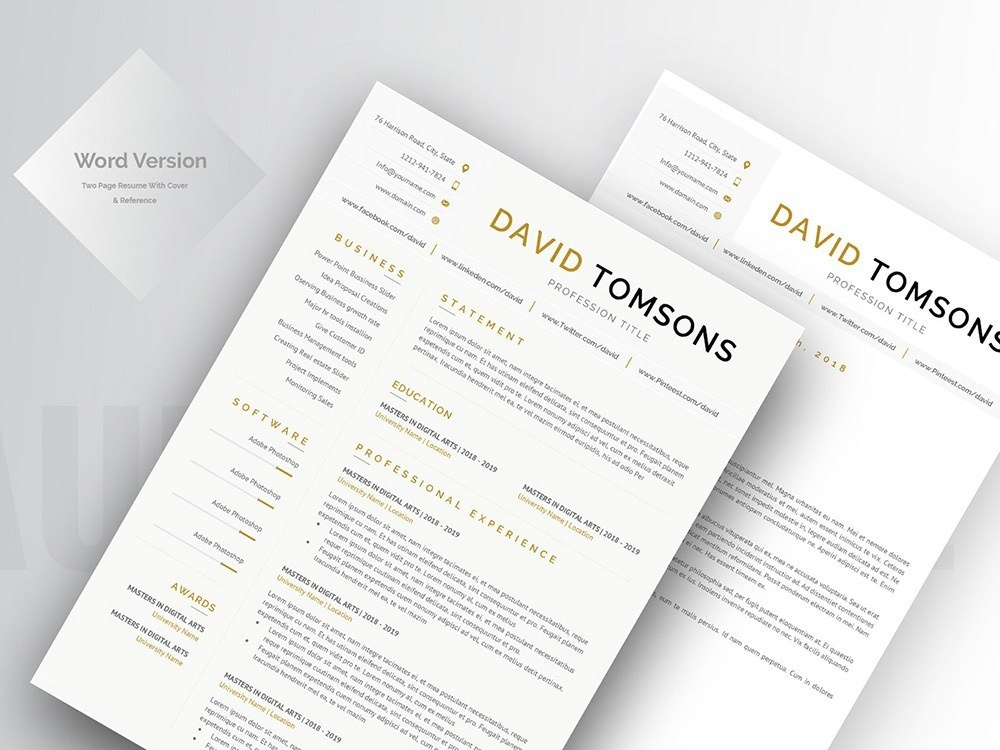 free word cv template with matching cover letter by julian
