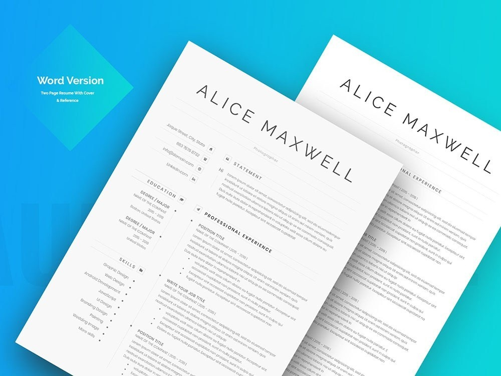 Free Two Page Resume and Matching Cover Letter by Julian Ma ...
