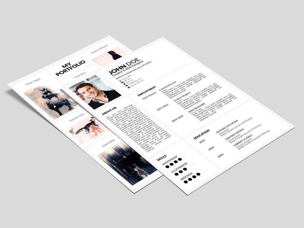 Free Portfolio Resume Template With Cover Letter Indesign