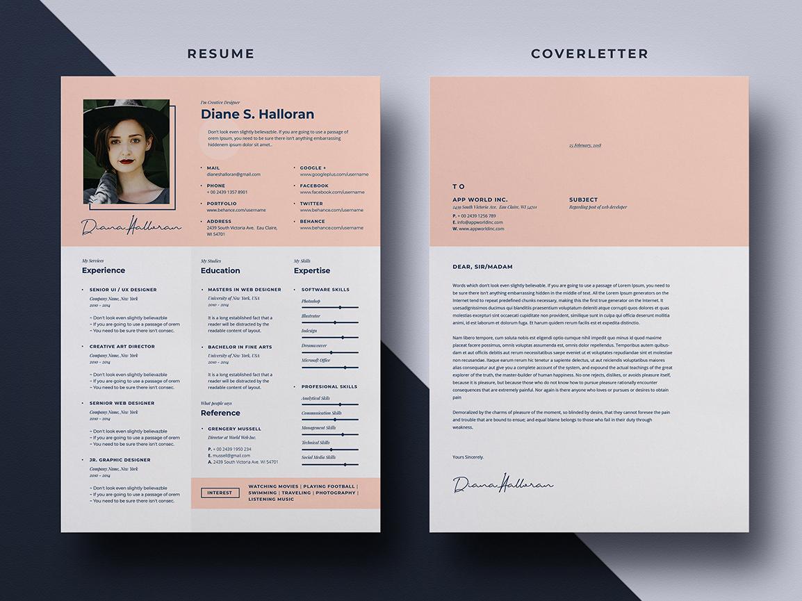 Free PSD Job Resume Template Psd Cover Letter Branding