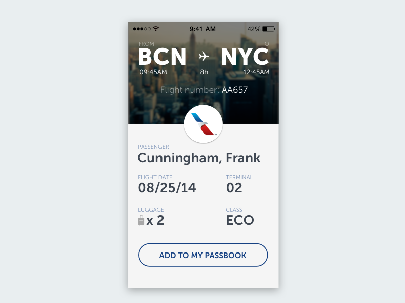 Boarding Ticket ui flight ticket boarding pass app white ios airport card info