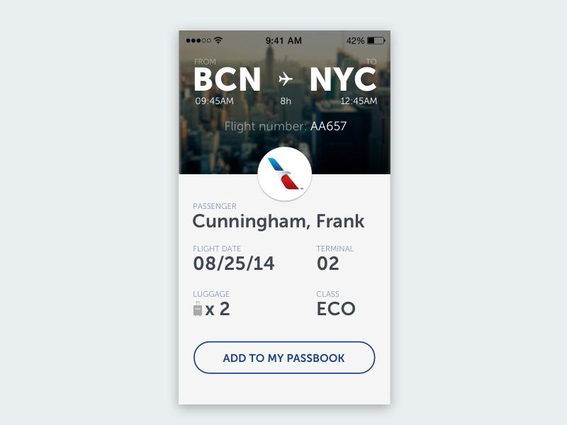 Boarding Ticket ui flight ticket boarding pass app white ios airport card info