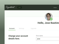 Dashboard - Account settings