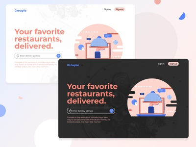 Regular and Dark Landing Page