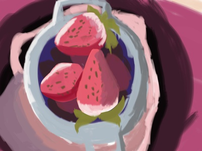 red school fruit assignment painting illustration