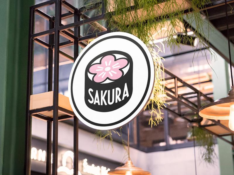 Sakura Logo Design graphic design restaurant japanese sushi logo branding thirtylogoschallenge thirtylogos
