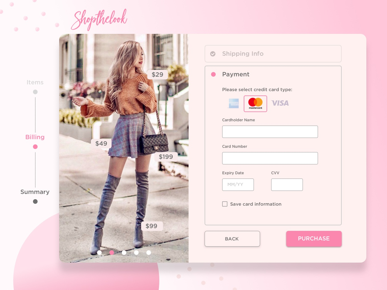 Credit Card Form for Shopthelook web app creditcardcheckout creditcard ux dailyux design ui graphic design
