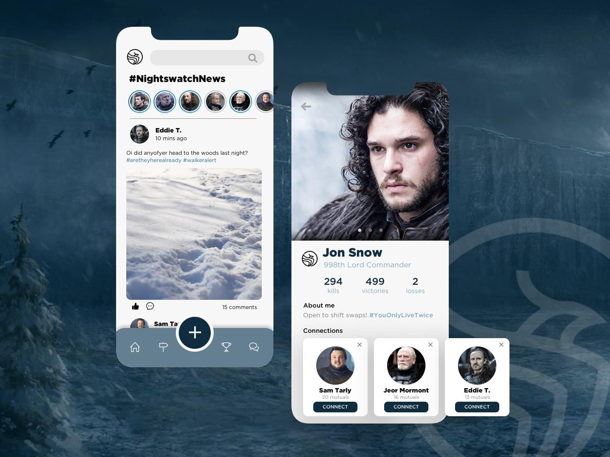 The Night's Watch Brotherhood (Social Profile) social media profile game of thrones dailyui app design social profile app ui ux graphic design