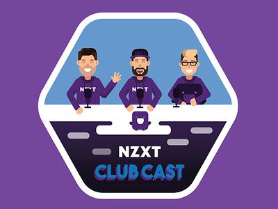 NZXT Club Cast Sticker Design flat vector nzxt podcast illustrator illustrator vector vectors human vector podcast podcast design vector design vector art badge design sticker design nzxt