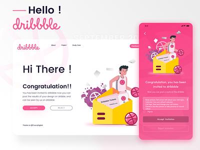 Dribbble invitation debutshot debuts dribbble ui design illustration