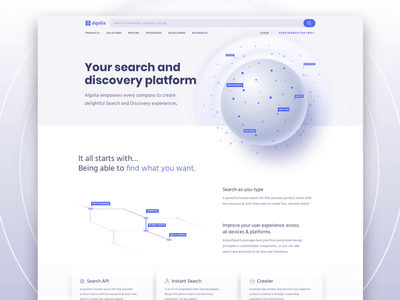 Product Overview Algolia.com search bar feature web skeumorphism skeuomorphism scroll engine search branding animation product design product
