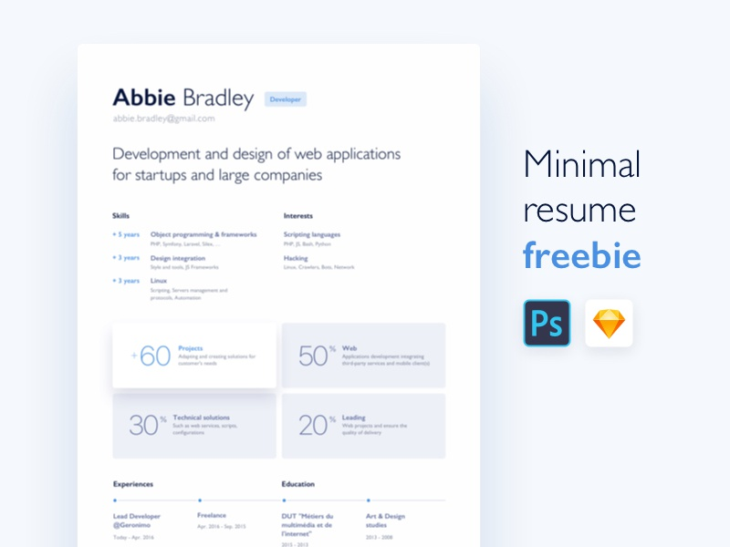 Minimal resume freebie for junior self-taught people freelance sketch psd minimal cv resume freebie