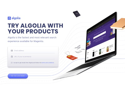 Algolia for Ecommerce header hero header webdesign product design shopify magento products ecommerce search
