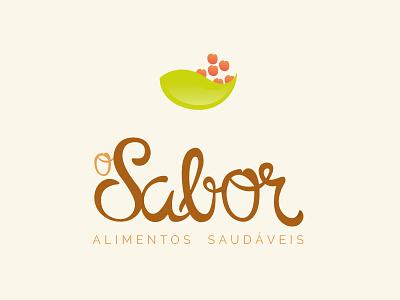 Marca O Sabor typography food logo natural brand