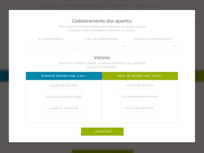 Cadastro de quatos sketch interface web layout motel css html js