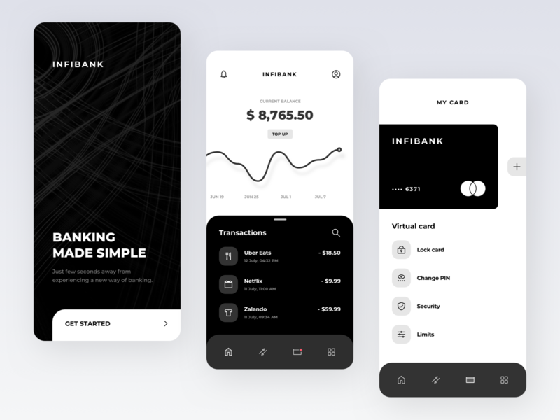 INFIBANK: Banking app purchases chart ios management add minimalistic minimalism simple statisticts stats graph transactions navigation card business fintech finance app banking bank