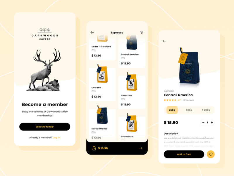Darkwoods Coffee: Shopping App sign add eshop e-shop rating product detail category list yellow favourite favorite quantity espresso cart shopping coffee ecommerce shop app