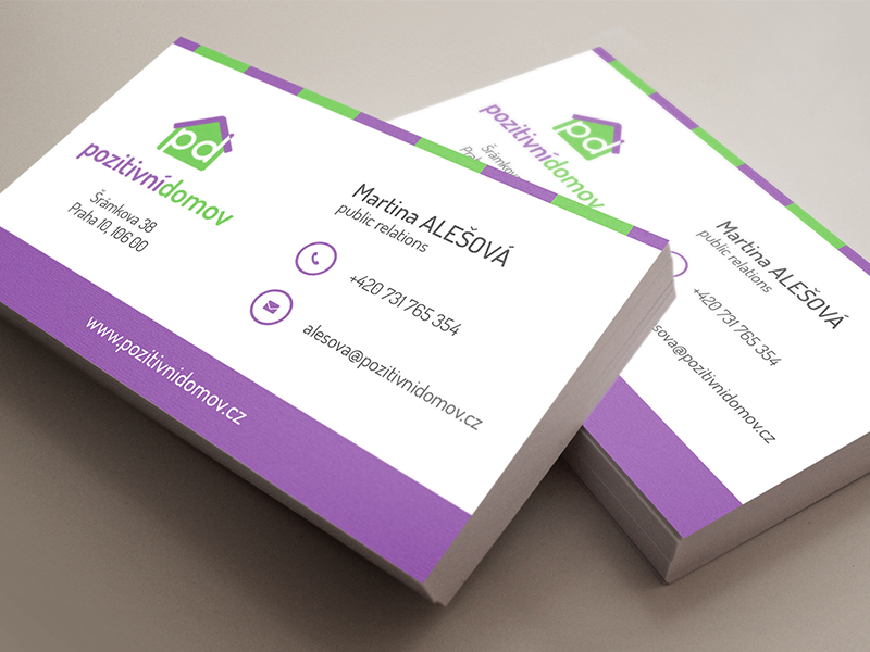 Business Cards - PD cards business cards flat simple nice clean logo logotype green white violet