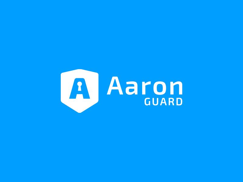 AaronGuard - logo security agency logo simple blue locker guard shield flat keyhole