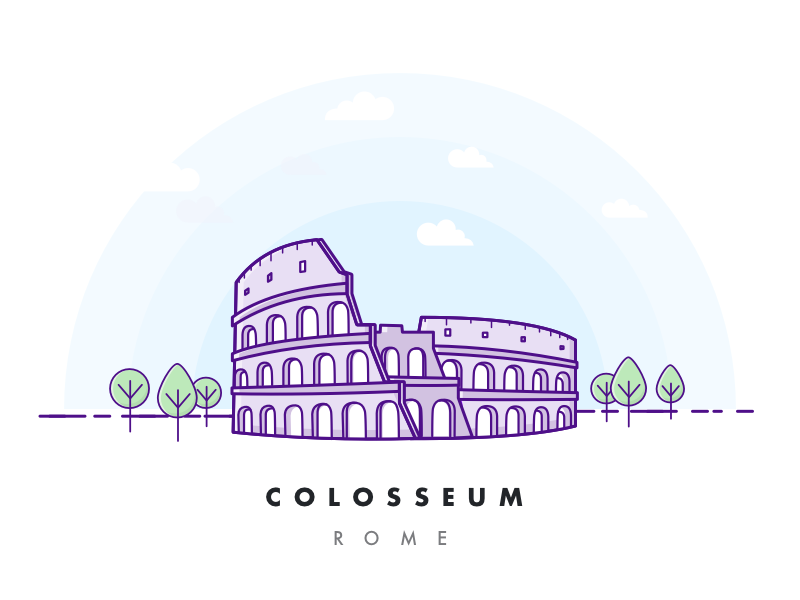Colosseum city sky art history building flat outline illustration coliseum italy rome colosseum