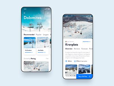 Ski App 🎿 travel skiing sports sport hero order forecast reviews iphone ios segmented control tabs list detail view detail rating snow winter app ski