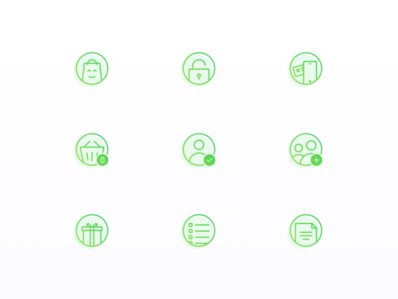 Finance Icons shop ecommerce fintech green add lock phone user file document gift bag app finance bank circle icon app icons set icons